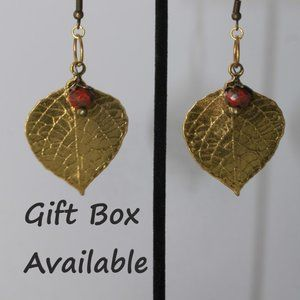 HP 💕Gold Leaf Fire Polished Red Earrings